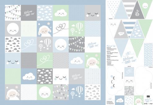 "Baumwoll-Panel ""Welcome little One"" by lycklig design hellblau mint Öko-Tex"