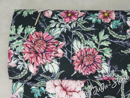 "Jersey ""My Watercolor Garden"" by Lila-Lotta anthrazit Öko-Tex"