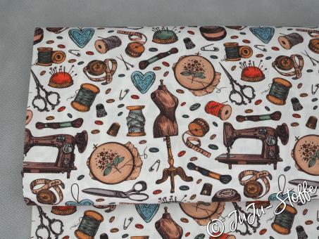 """Baumwolle """"Vintage sewing"""" Öko-Tex"""
