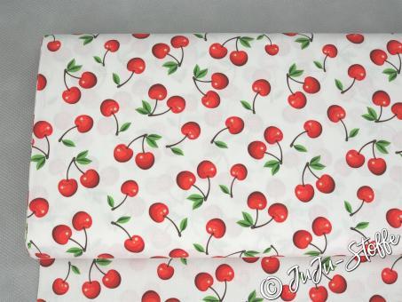 "Baumwolle ""Sweet Cherries"" weiß Öko-Tex"