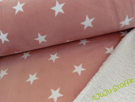 Fleece-Teddy Sterne dusty rosa weiß
