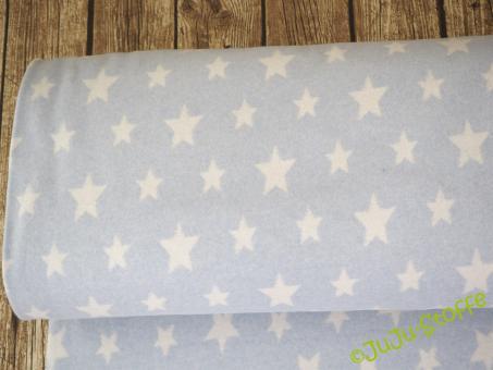 Bio-Baumwoll-Fleece Sterne hellblau weiß