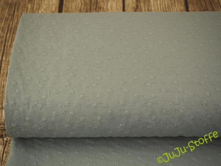 "Baumwolle-Batist ""Blümchen gestickt"" dusty mint"