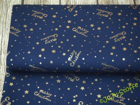 "Baumwoll-Popeline ""Merry Christmas"" navy gold"