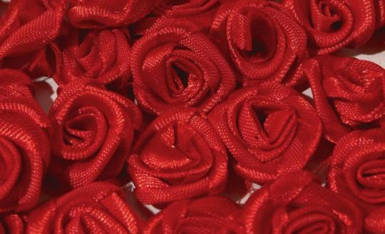 10er-Set Stoffrosen rot