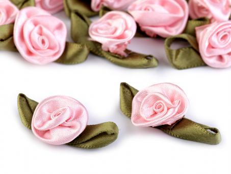 5er-Set Satinröschen mit Blatt rosa
