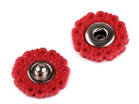 Druckknöpfe Blume, 19mm, rot, 5er Set