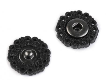 Druckknöpfe Blume, 19mm, schwarz, 5er Set