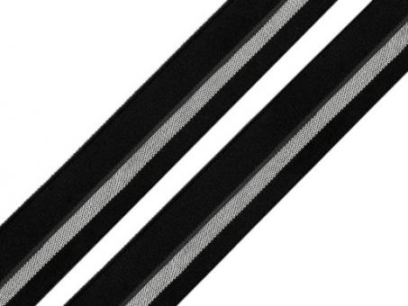 Faltgummi schwarz silber, 20mm