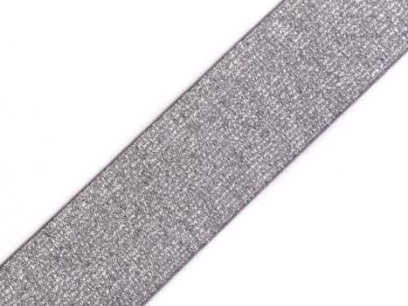 Gummiband mit Lurex grau silber 40mm
