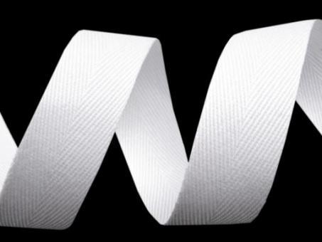 Köperband 20mm weiß