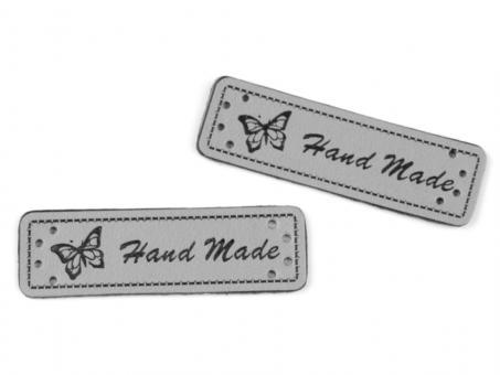 """5er-Set Patches Aufnäher """"Hand Made"""" grau"""