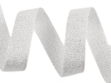 Textilband mit Lurex weiß silber
