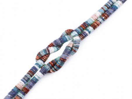 "Kordel ""Multicolor - Lurex"" , braun blau, 6mm"