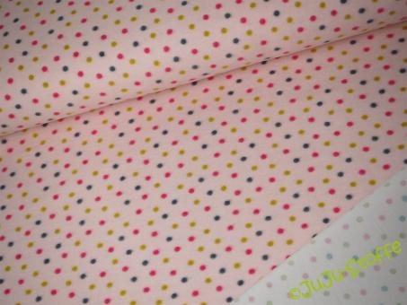 Sweat Doubleface Punkte rosa Öko-Tex