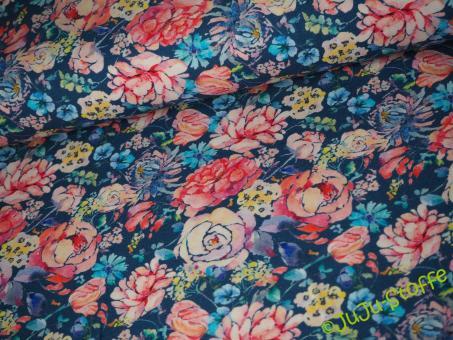 "Jersey ""Bouquet de Fleurs"" blau Öko-Tex"