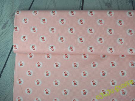 "Baumwolle ""Charming Roses"" rosa gepunktet Öko-Tex"