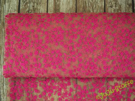 "Mesh ""Folk"" Stickerei pink"