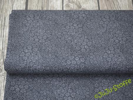 """Baumwolle """"Blumen und Punkte"""" grau / schwarz"""