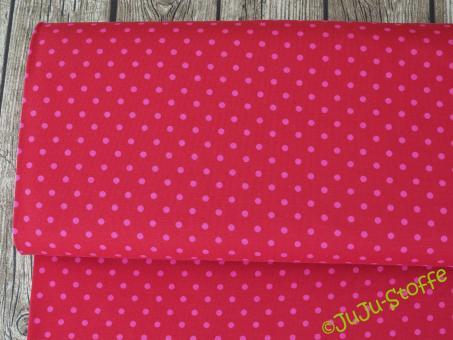 """Jersey """"Twin-Dots"""" rot pink Öko-Tex"""