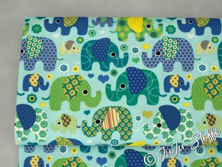 """Baumwolle """"Elefanten"""" hellblau"""