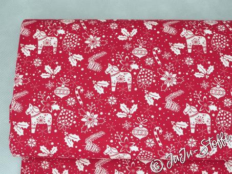 """Baumwolle """"Weihnachtszauber"""" rot"""