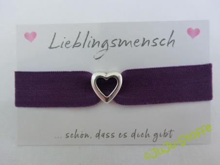 """Wunscharmband """"Lieblingsmensch"""" lila"""