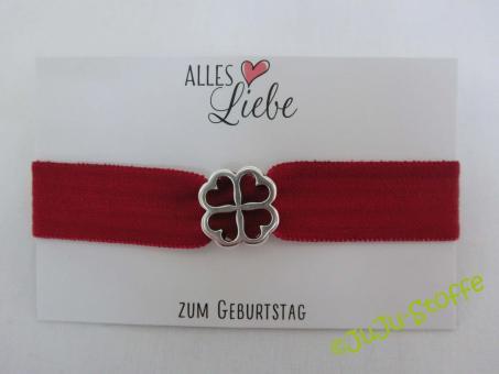 "Wunscharmband ""Alles Liebe zum Geburtstag"" dunkelrot"