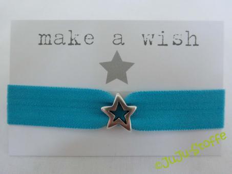 """Wunscharmband """"make a wish"""" türkis"""