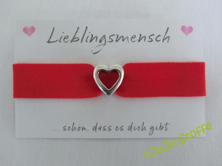 """Wunscharmband """"Lieblingsmensch"""" rot"""