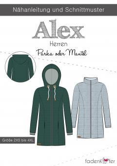 Papierschnittmuster Alex Parka oder Mantel Herren von Fadenkäfer