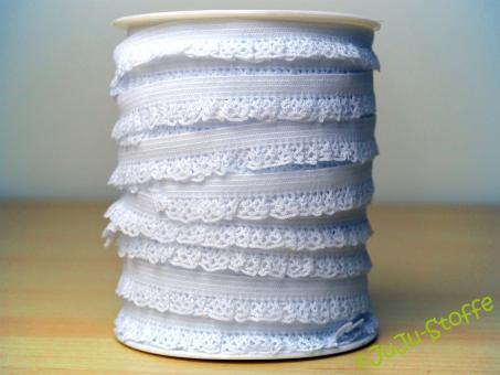 Wäschegummi elastisch mit Spitze weiß