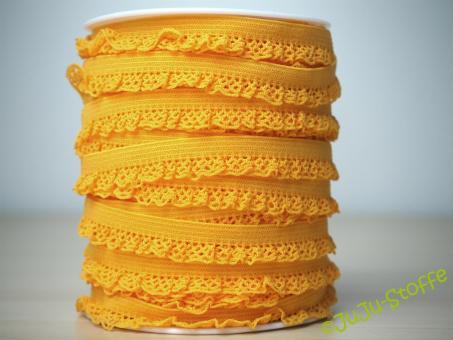 Wäschegummi elastisch mit Spitze gelb