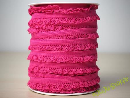 Wäschegummi elastisch mit Spitze pink
