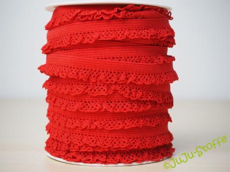 Wäschegummi elastisch mit Spitze rot