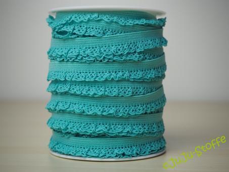 Wäschegummi elastisch mit Spitze türkis