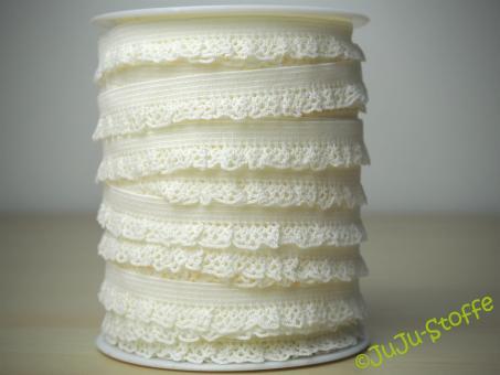 Wäschegummi elastisch mit Spitze offwhite