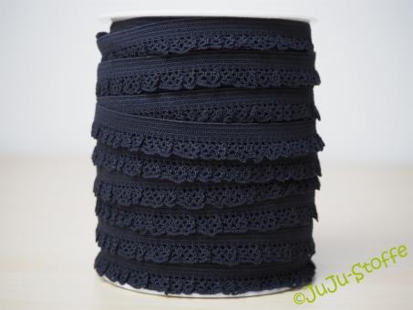 Wäschegummi elastisch mit Spitze schwarz
