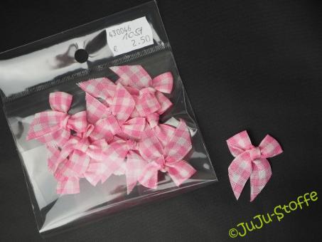 Schleifchen kariert rosa weiß 10er Set