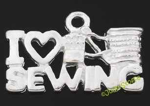 "Anhänger ""I love sewing"" silberfarben Metall"