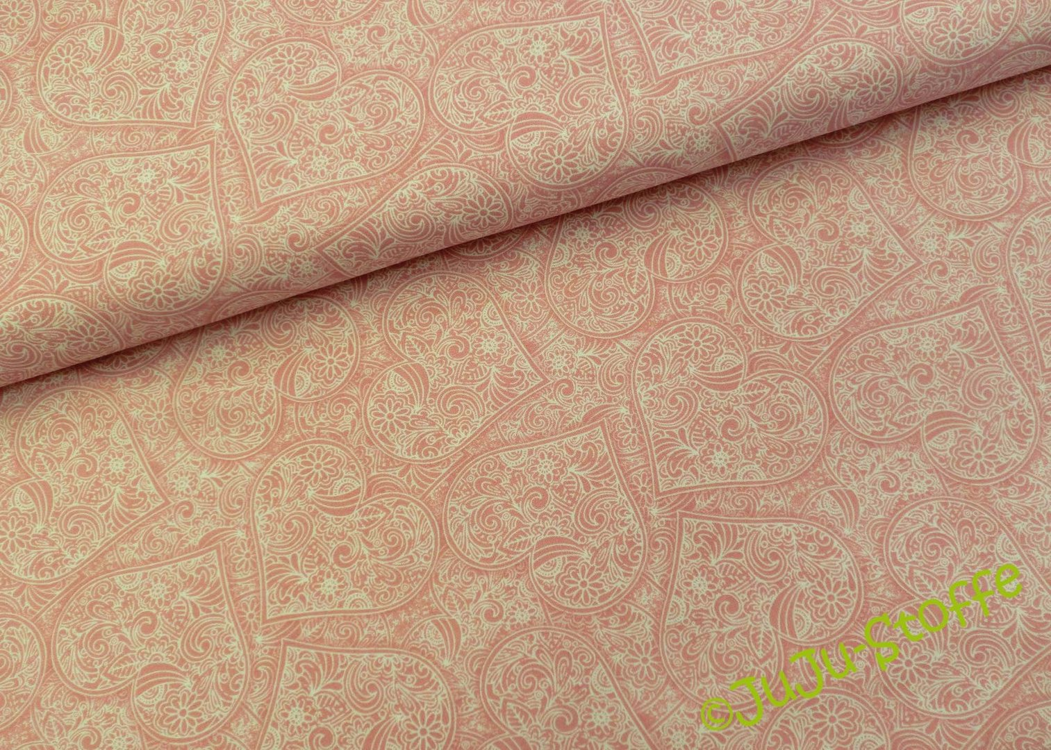 Baumwolle Garden Hide Away Herzen Ros Online Balen Top Pink