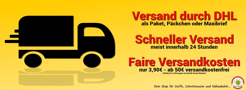 Logistikpartner DHL, Versand meist innerhalb 24 Stunden, faire Versandkosten