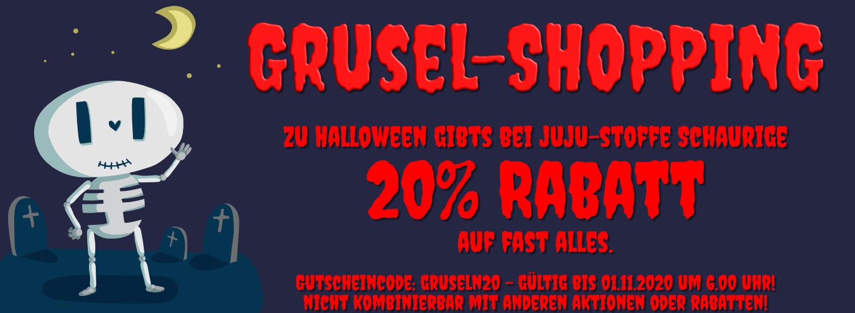"""Grusel-Shopping bei JuJu-Stoffe - 20% auf fast alles mit dem Gutscheincode """"GRUSELN20""""!"""